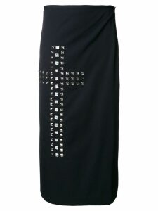 COMME DES GARÇONS PRE-OWNED studded cross wrap skirt - Black
