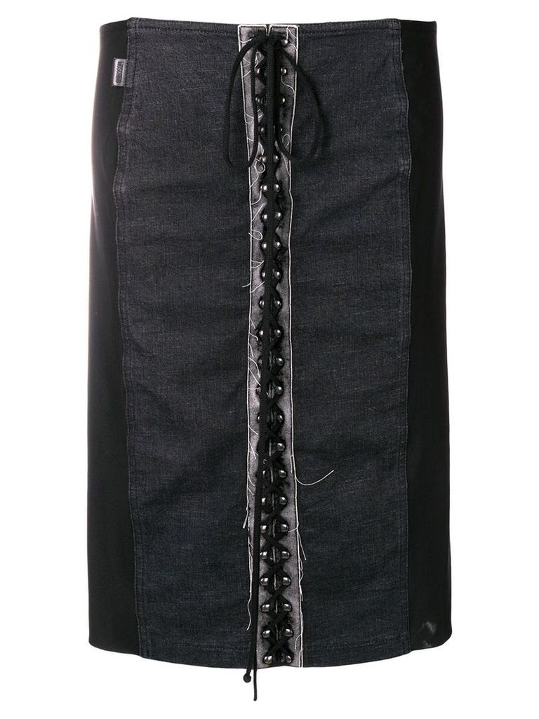 Moschino Pre-Owned 1990's lace-up straight skirt - Black