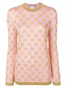 Gucci embellished GG motif jumper - Pink