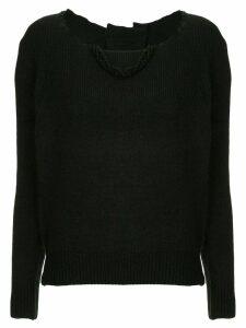 Uma Wang distressed neck jumper - Black