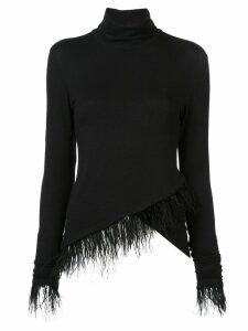 Josie Natori feather trim asymmetric knit top - Black
