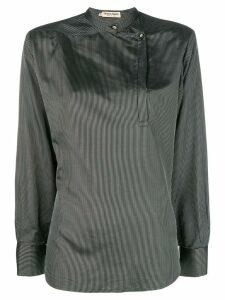 Giorgio Armani Pre-Owned mandarin collar striped blouse - Black