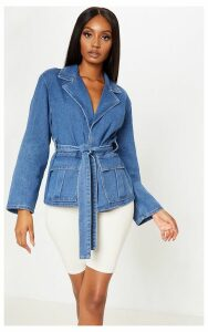 Mid Wash Cargo Pocket Tie Waist Blazer, Mid Blue Wash