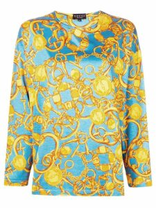 Gucci Pre-Owned chain pattern longsleeved blouse - Blue