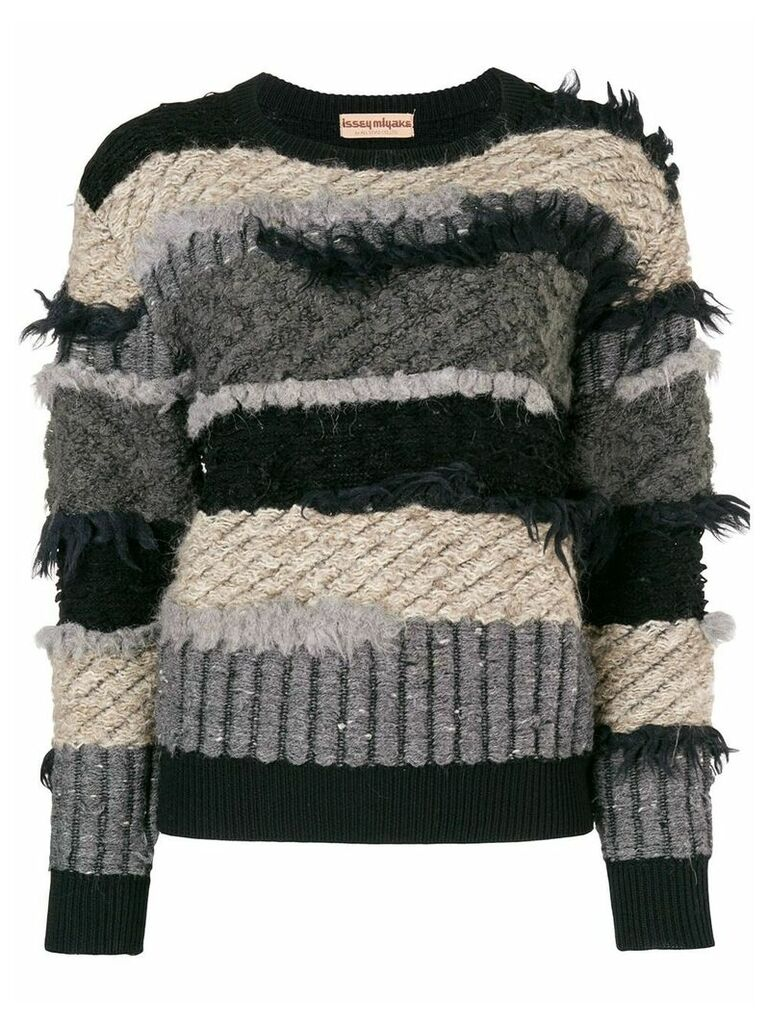 Issey Miyake Vintage 80's frayed striped jumper - Black