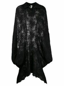 Comme Des Garçons Pre-Owned lace appiqué sheer cloak - Black