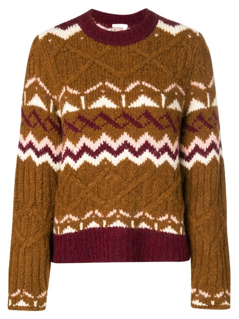 See By Chloé chunky knit patterned jumper - Brown