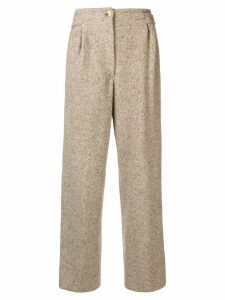 Gianfranco Ferre Pre-Owned high rise straight trousers - Neutrals