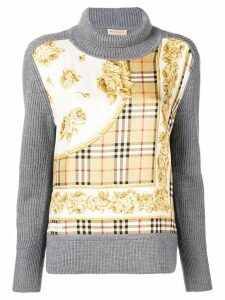 Burberry Archive Scarf Print Panel Wool Turtleneck Sweater - Grey