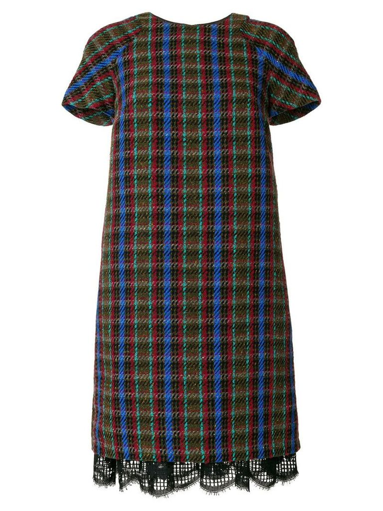 Talbot Runhof knitted check dress - Multicolour