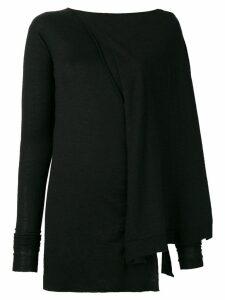 Rick Owens slim-fitted asymmetric sweater - Black