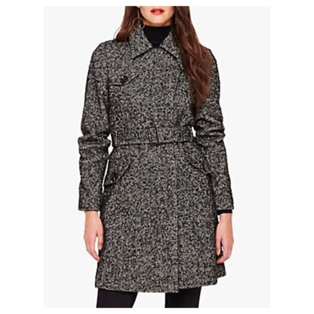 Damsel in a Dress Anna Tweed Belted Coat, Black/White