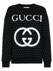 Gucci Embellished quilted cotton logo sweatshirt - Black