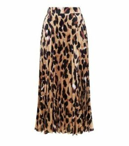 Brown Leopard Print Pleated Satin Midi Skirt New Look