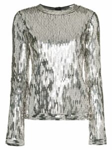 Off-White Sequin Embellished Top - Silver