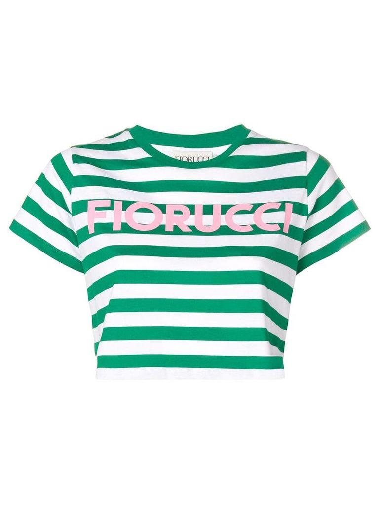 Fiorucci striped crop T-shirt - Green