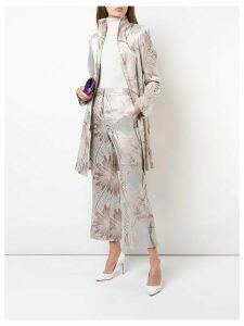 Josie Natori jacquard kick-flare trousers - White
