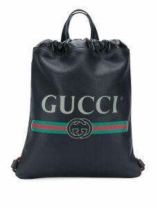 Gucci logo drawstring backpack - Black