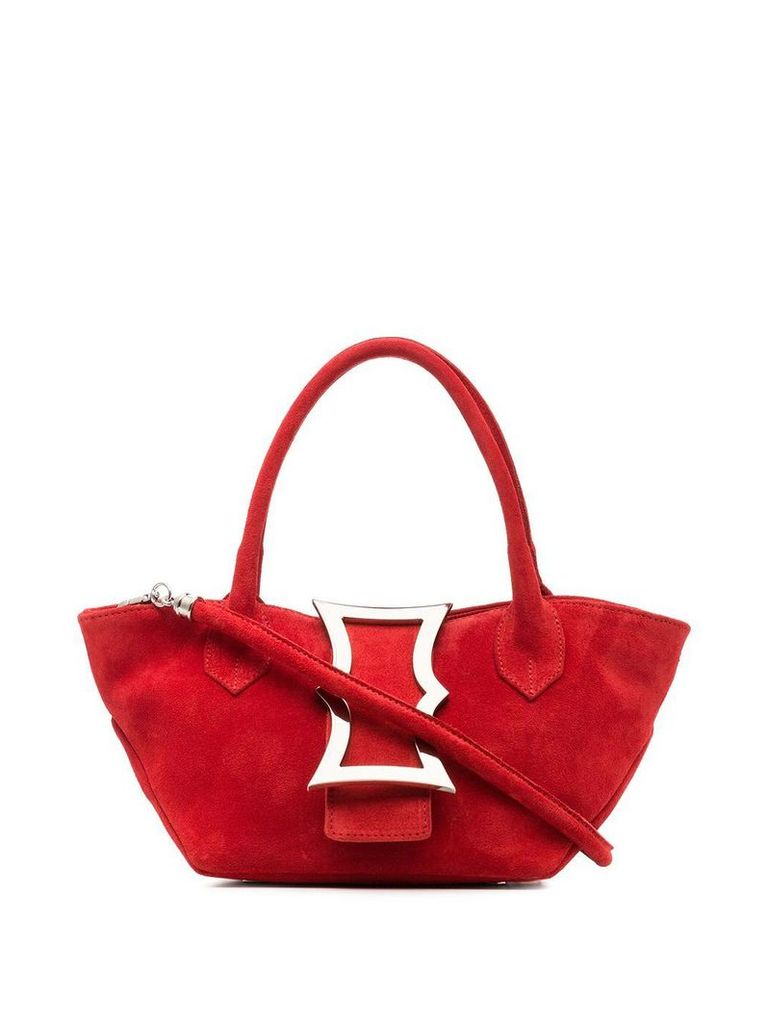 Dorateymur red mini lament suede leather tote bag