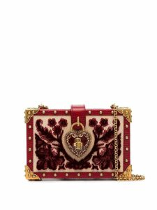 Dolce & Gabbana heart lock embellished velvet box bag - Red
