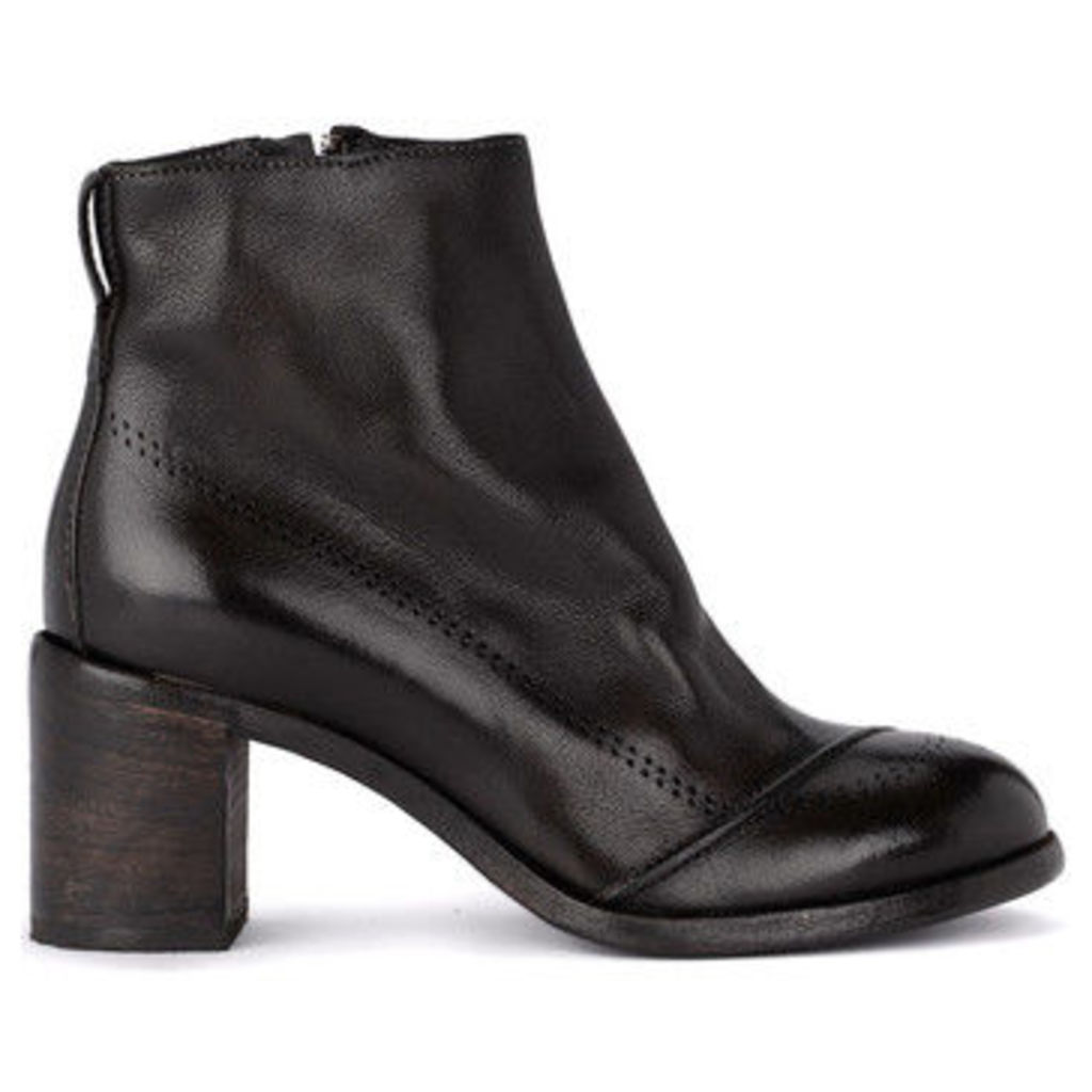 Moma  Bufalo dark brown leather ankle boots  women's Low Ankle Boots in Brown