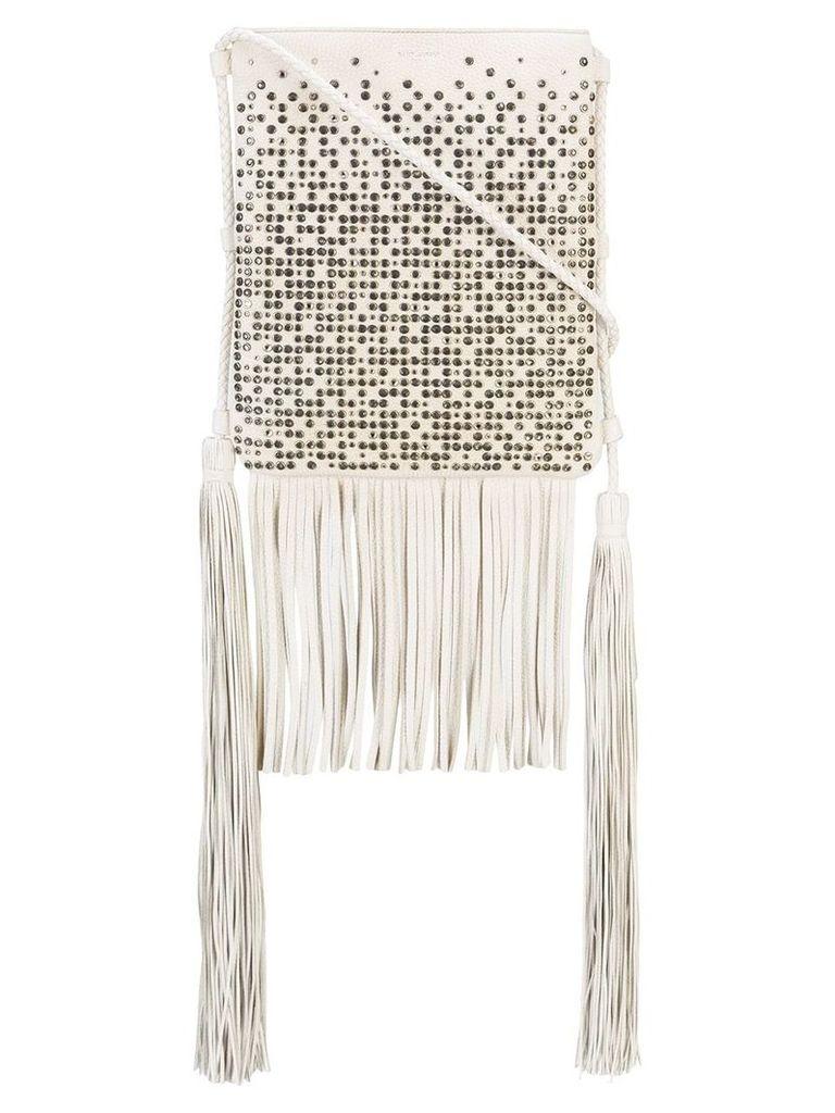 Saint Laurent studded fringed shoulder bag - White