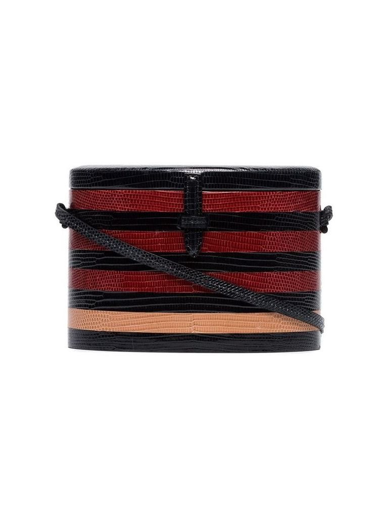 Hunting Season Black, red and taupe 'Round' lizard skin shoulder bag