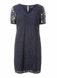 Womens Navy Two Tone Lace Shift Dress- Blue, Blue