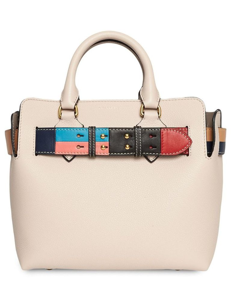 Burberry The Small Leather Colour Block Detail Belt Bag - Neutrals
