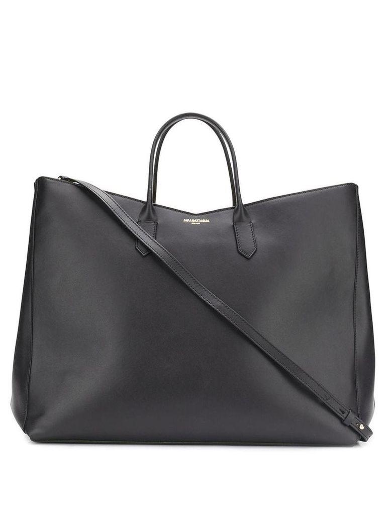 Sara Battaglia wide square tote bag - Black