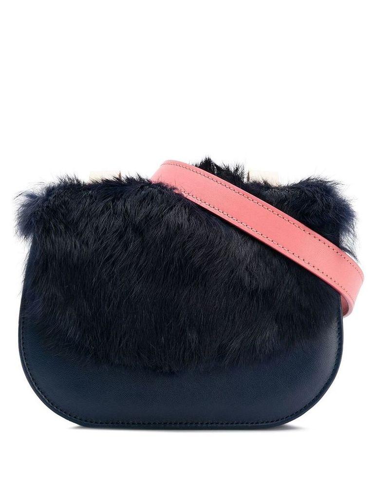 me Moi Naomi belt bag with rabbit fur - Blue