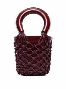 Staud Red Moreau mini leather bucket bag