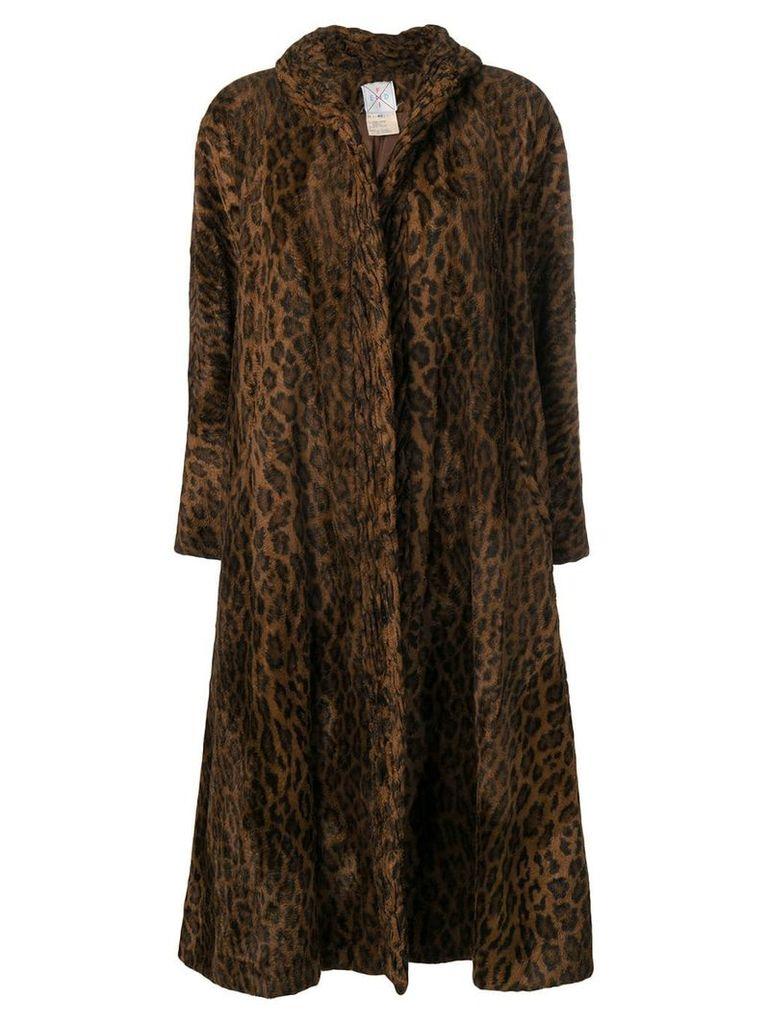 Fendi Vintage leopard print oversized coat - Brown