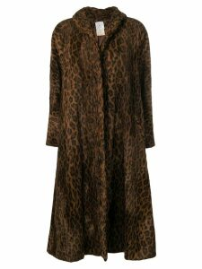FENDI PRE-OWNED leopard print oversized coat - Brown