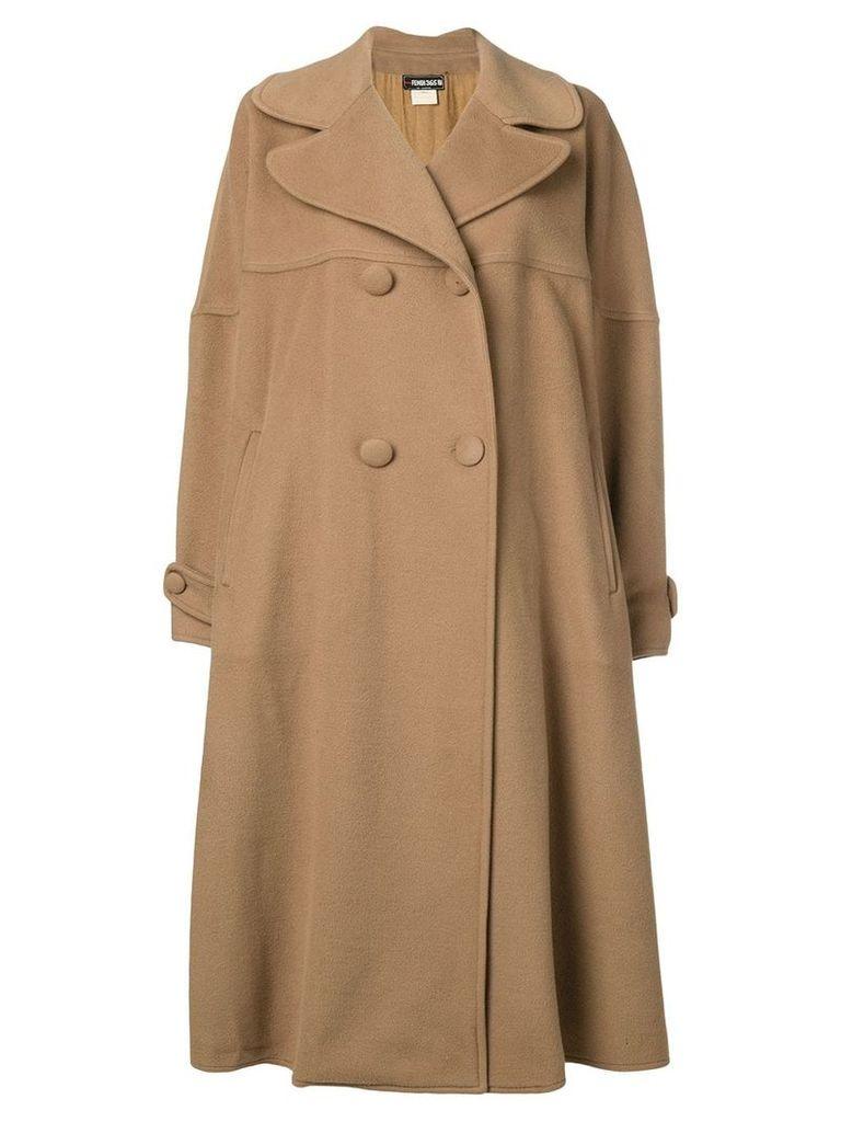Fendi Vintage double breasted midi coat - Brown