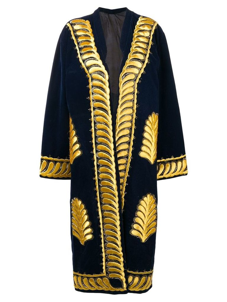 A.N.G.E.L.O. Vintage Cult open front embroidered coat - Blue