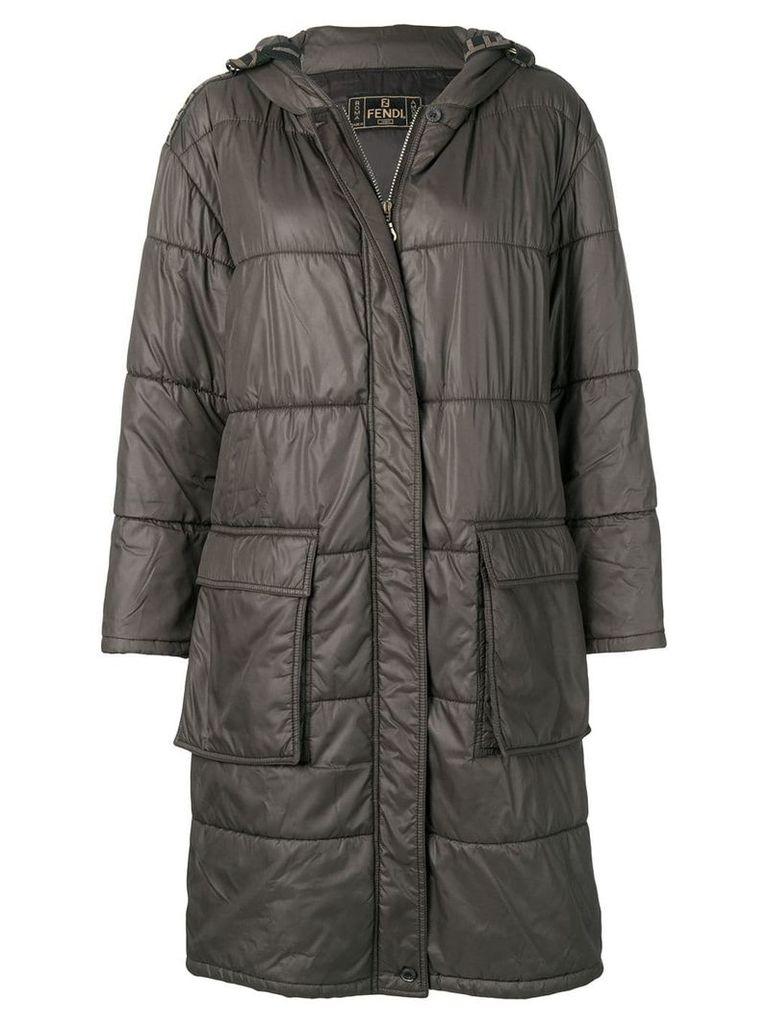 FENDI PRE-OWNED hooded logo padded coat - Grey
