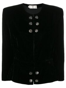 Valentino Pre-Owned 1980's collarless fitted jacket - Black