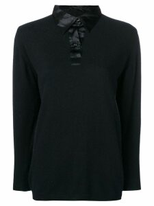 YVES SAINT LAURENT PRE-OWNED 1990's contrasting collar blouse - Black