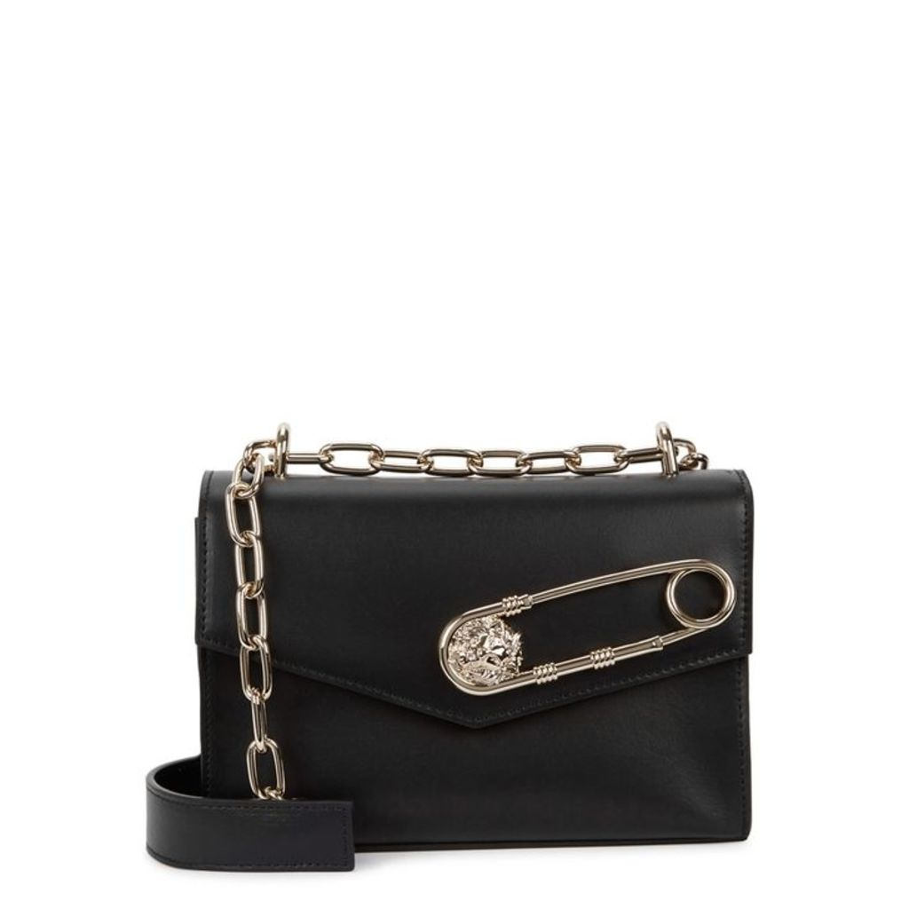 Versus Versace Safety Pin Black Leather Shoulder Bag