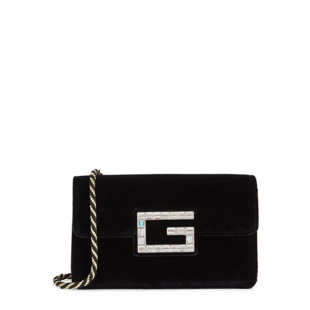 Gucci Broadway Black Velvet Shoulder Bag