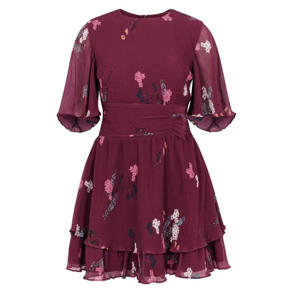 KEEPSAKE Night Fall Floral-print Plissé Mini Dress