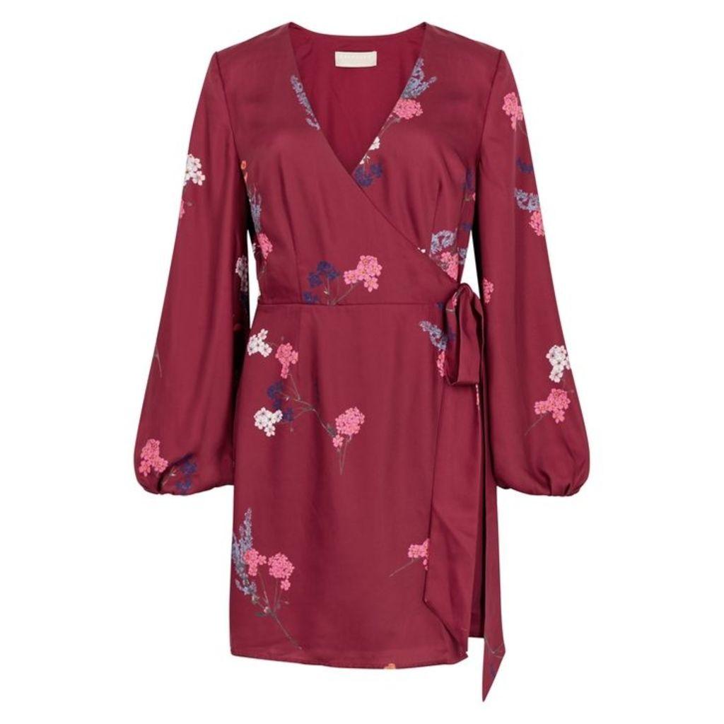 KEEPSAKE Hurricane Floral-print Satin Wrap Dress