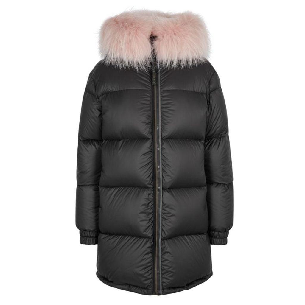 Mr & Mrs Italy Black Fur-trimmed Reversible Shell Coat