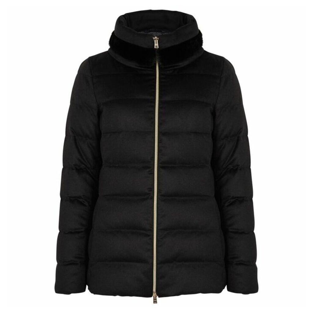 Herno Black Mink-trimmed Silk-blend Coat