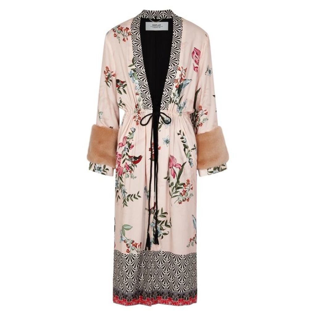 Replay Printed Faux Fur-trimmed Kimono Jacket