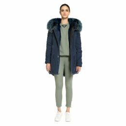 Mr & Mrs Italy Stone Blu Navy Parka Midi Shadow Fox Raccoon Fur