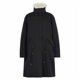 Yves Salomon Black Shearling-trimmed Cotton-blend Parka