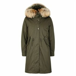 Woolrich Army Green Fur-trimmed Cotton Parka