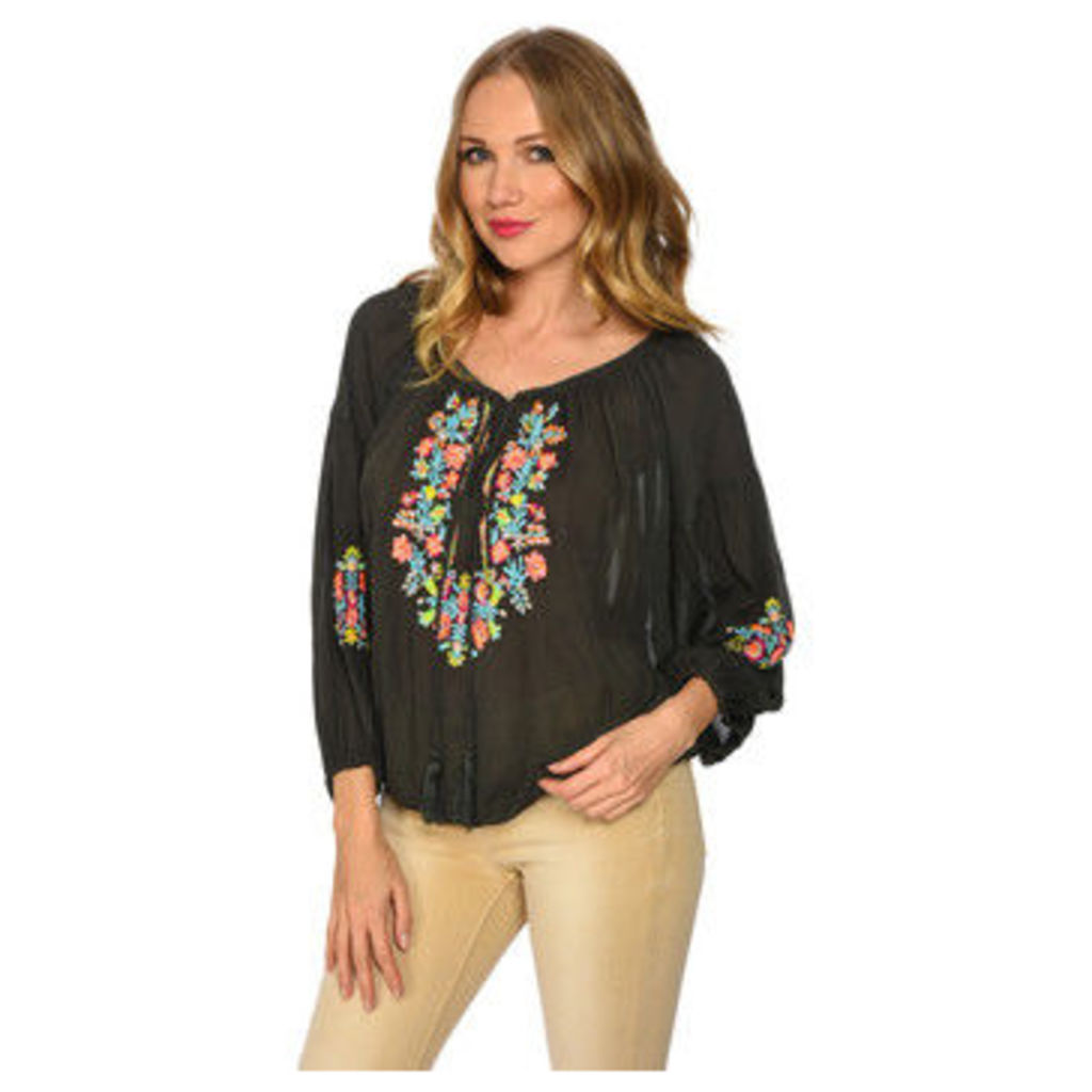 Miss June  Embroidered blouse  women's Blouse in Green